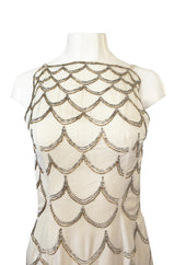 1960s Mr. Blackwell Gold & Silver Beaded Loop Design Ivory Silk Dress