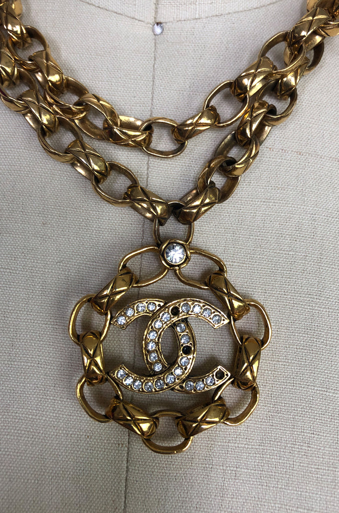 2003 Chanel Gold & Crystal Medallion Large Link Chain Necklace