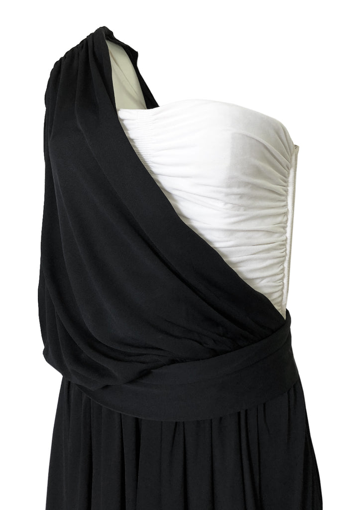 1980s Bill Blass Draped Black and White Jersey One Shoulder Dress