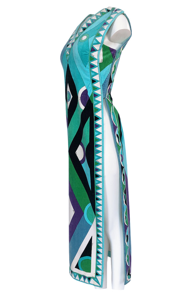 Rare c1968 Pucci Turquoise Print Towelling Velvet Split Side Caftan Dress