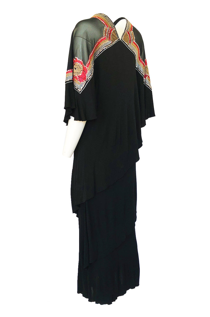 1970-1974 Janice Wainwright Embroidery & Sequin Tiered Jersey Cape Dress