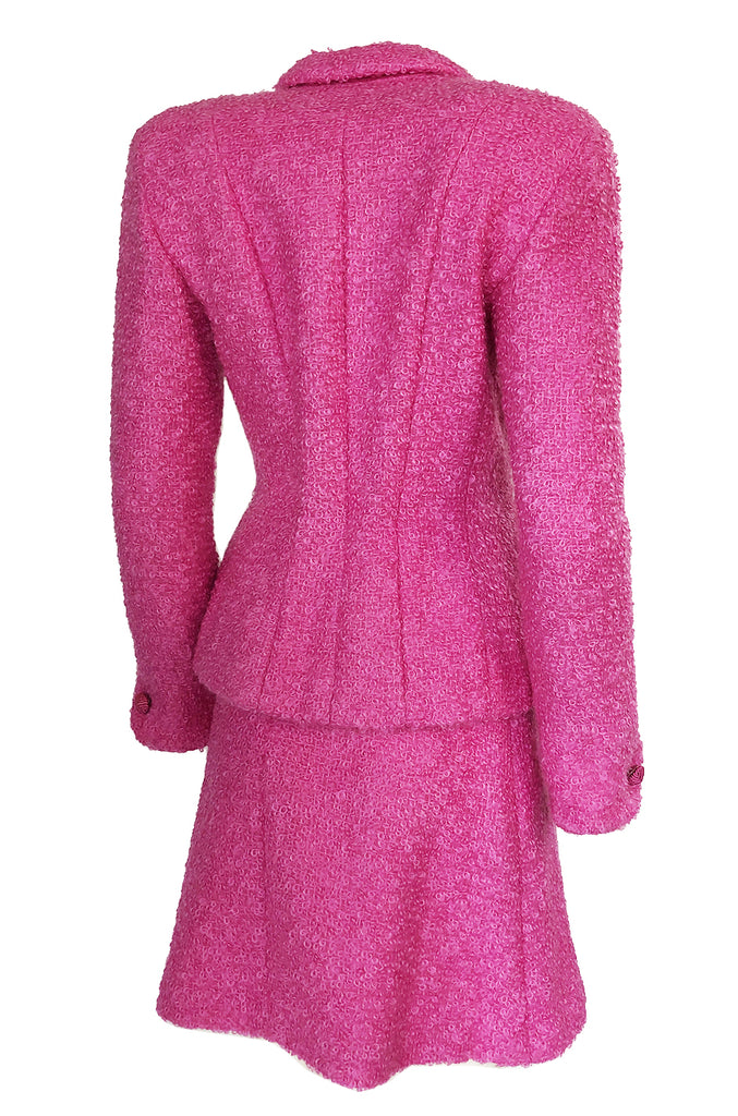 Fall 1998 Christian Dior Vibrant Pink Mohair Skirt & Jacket Suit