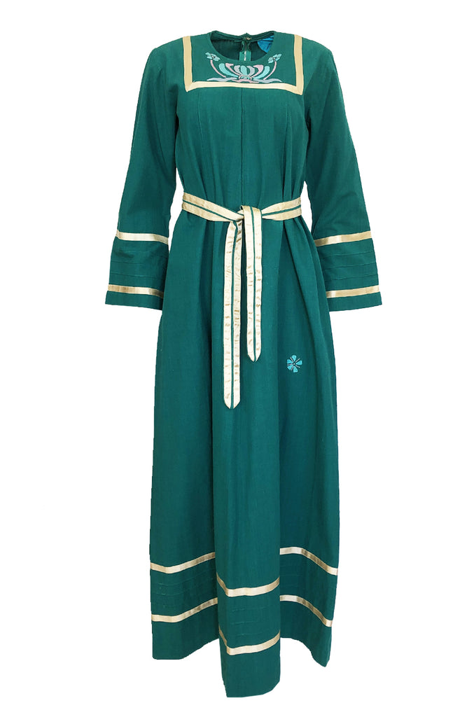 1960s Josefa Hand Embroidered Ribbon Detailed Teal Caftan Dress w Belt