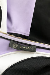 Super Sale! Recent Versace Purple Curved Panel w Netted Sides Stretch Bandage Dress