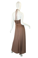 1970s Taupe Jersey Halter Maxi Dress