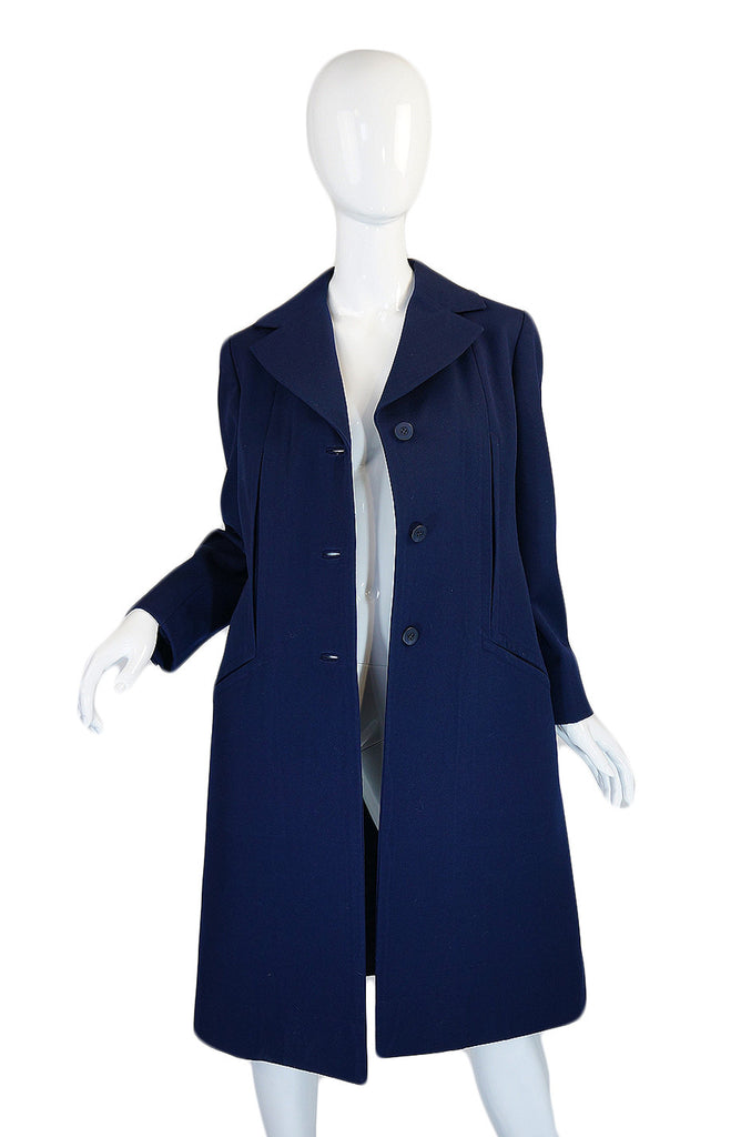1960s Blue Bill Blass Seamed Navy Coat