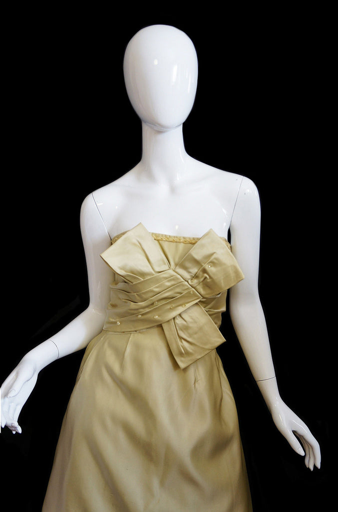 1950s Silk Strapless Beaded Bow Dress
