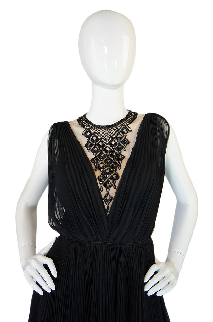1960s Black Beaded Chiffon Jack Bryan Dress