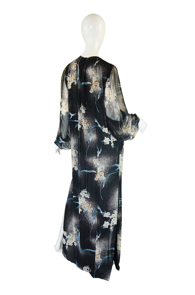 1970s Silk Chiffon Hanae Mori Maxi Dress