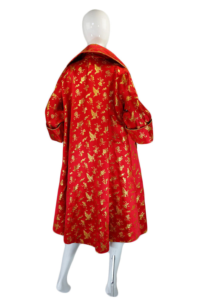 1950s Red & Gold Silk Brocade Coat