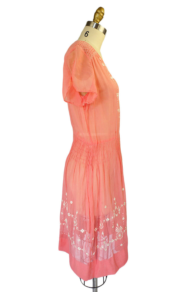 1920s Embroidered Pink Flapper Dress