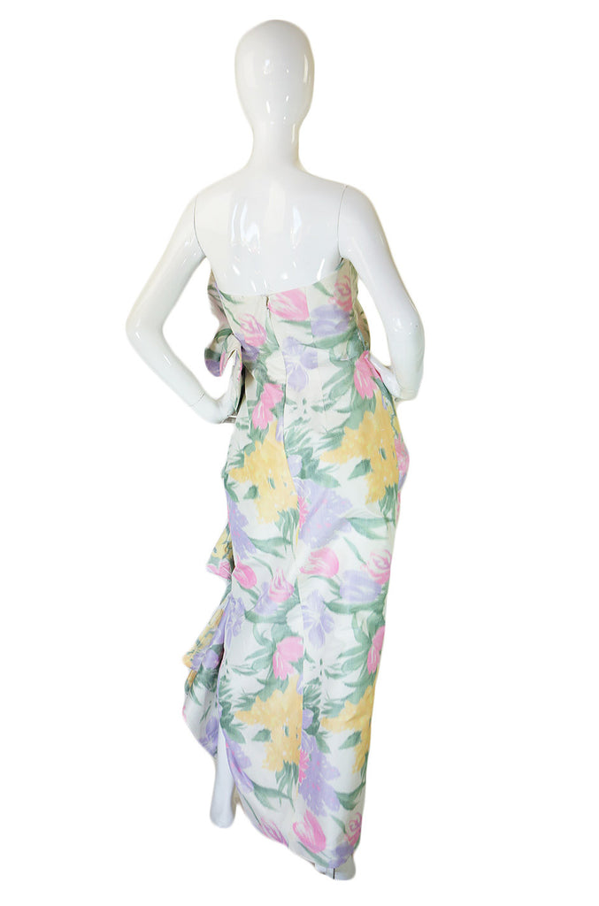 Now On Sale - 1980s Strapless Ruffled Pastel Silk Mignon Gown