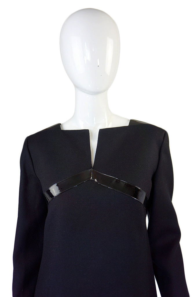 Early 1980s Courreges Patent Detail Dress