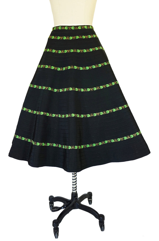 1950s Black & Green Ribbon Circle Skirt