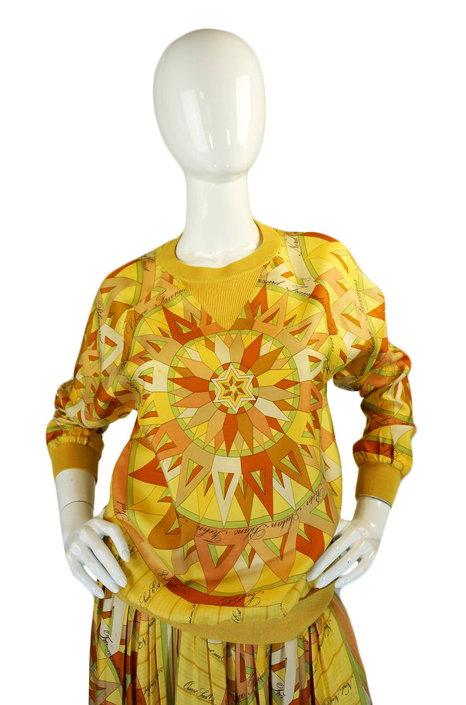 1970s Rare Hermes Silk Top & Skirt Set