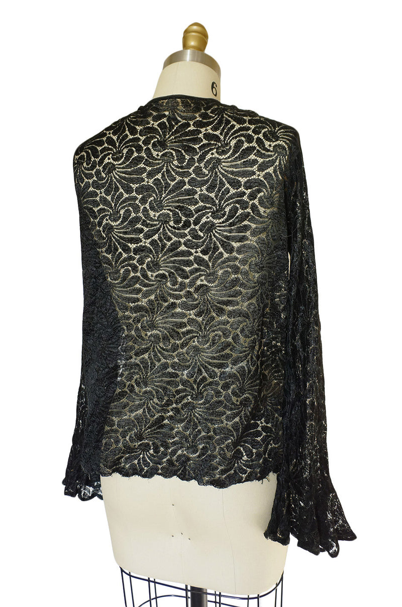 1920s Fine Soft Black Lace Cardigan