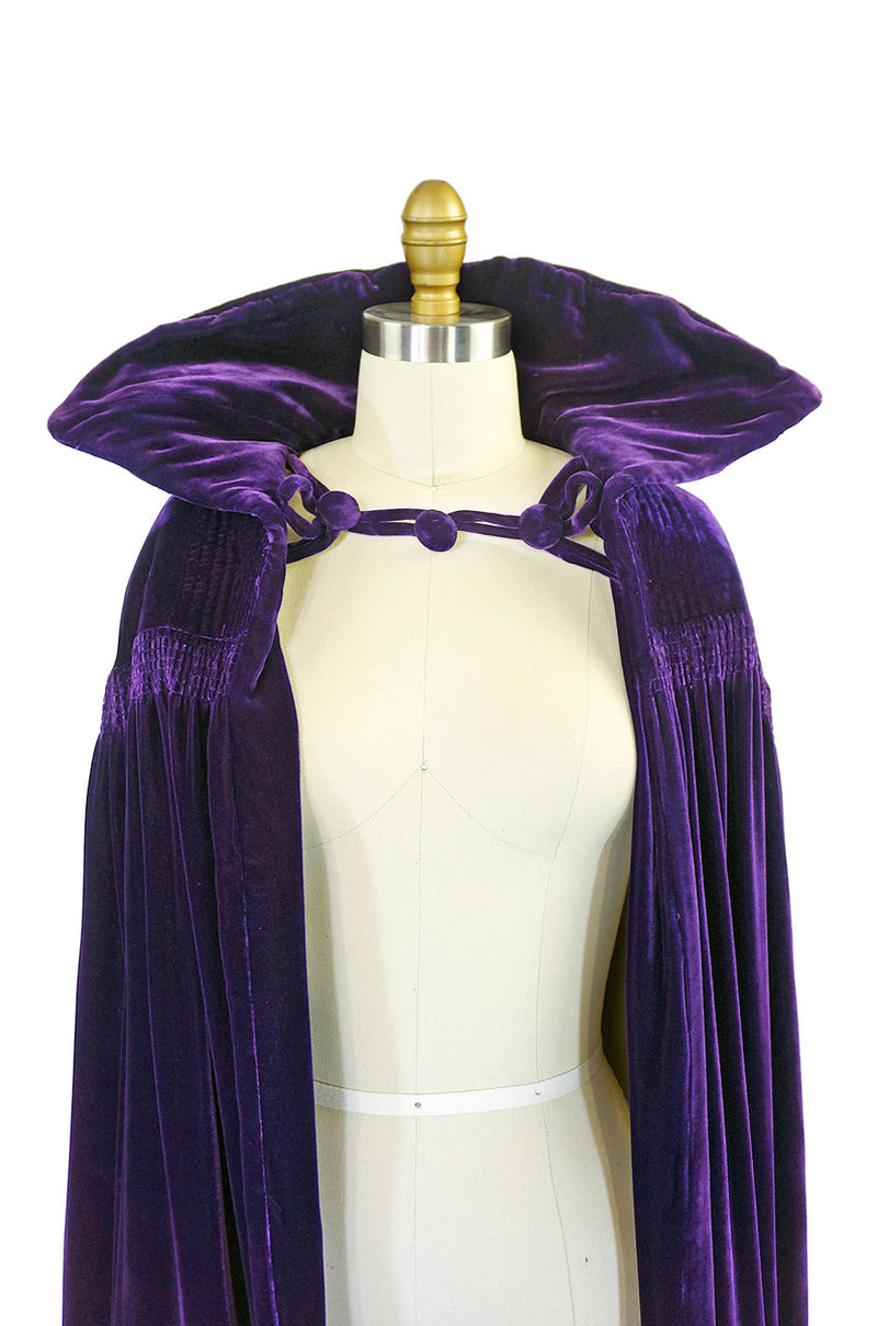 Early 1930s Purple Silk Velvet Cape