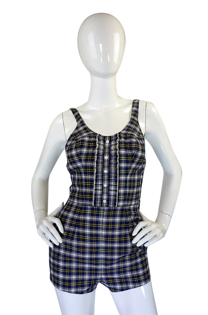 1950s Ruffled Plaid Catalina Swimsuit