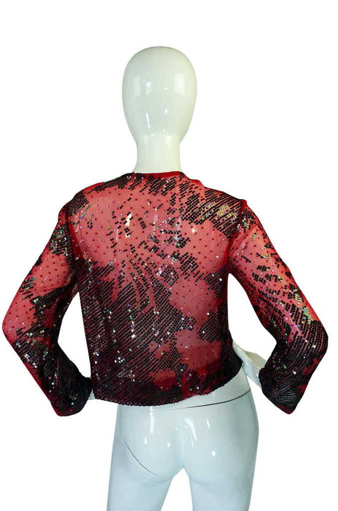 1920s Fine Sequin Silk Chiffon Top