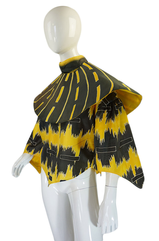 1980s Wild Yellow & Grey Top & Cape