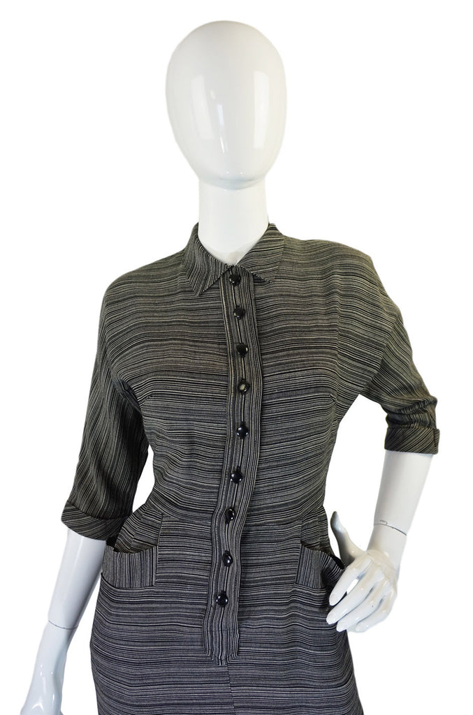 1940s Grey Secretary Day Swing Dress
