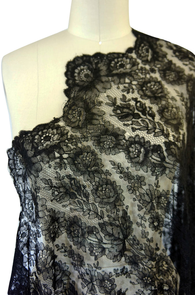 1860s Huge Chantilly Lace Black Shawl