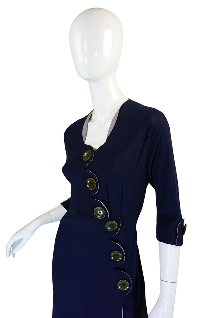 1940s Asymmetrical Button Swing Dress