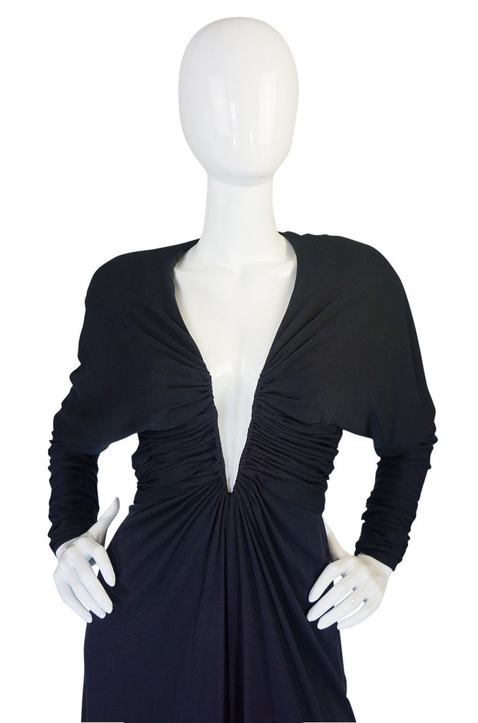 1980s Black Wire Plunged Estevez Dress