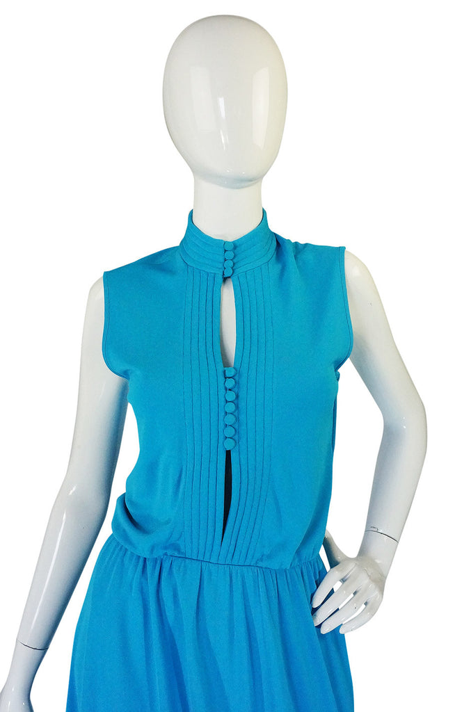 1970s Louis Feraud Turquoise Maxi Dress