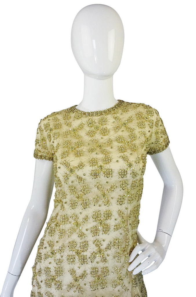 1960s Rhinestone & Bead Silk Net Dress