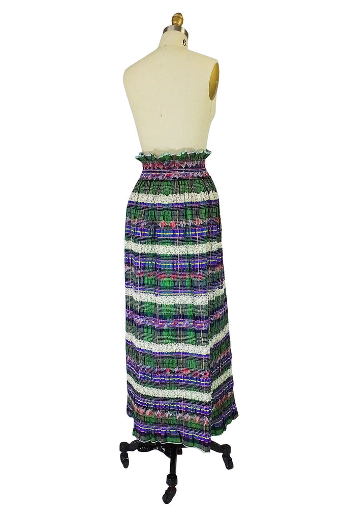 1960s Ruffled Ribbon & Lace Maxi Skirt