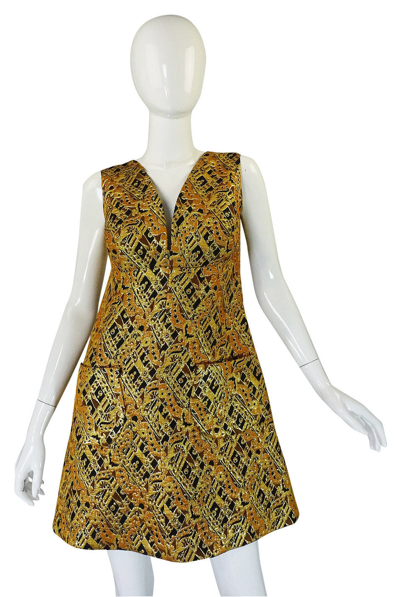 1960s Metallic Gold Brocade Sculpted Mini Dress