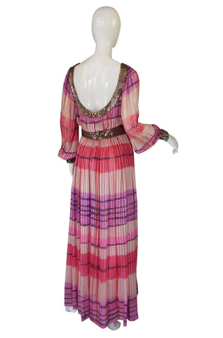 1960s Pink & Gold Silk Chiffon Dress with Silver Beading