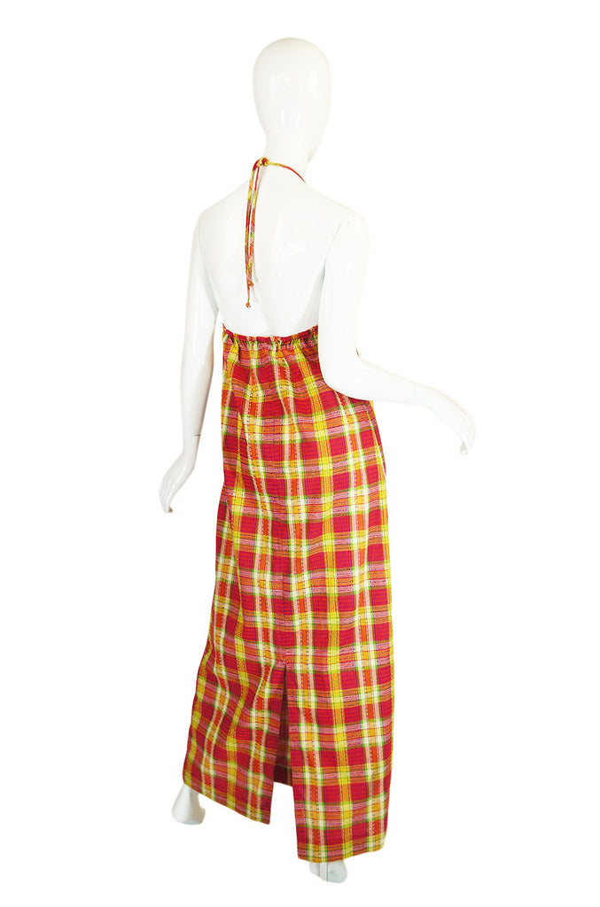 1970s Gingham Print Lace Front Halter Maxi Dress