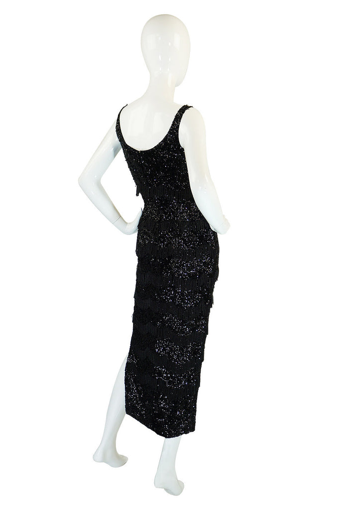 1950s Fully Sequined Fringe Black Dress