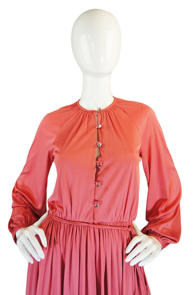 1970s Glass Button Donald Brooks Dress