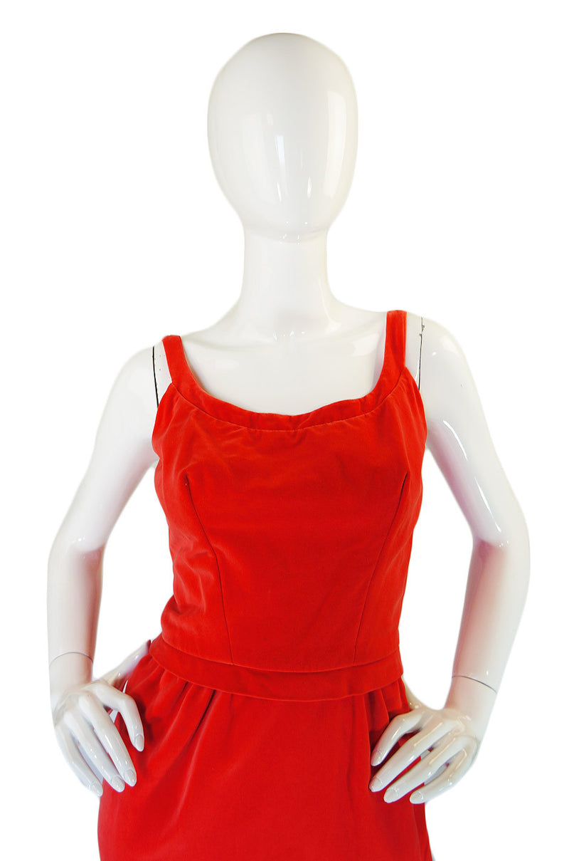 1950s Coral Emma Domb Rose Dress