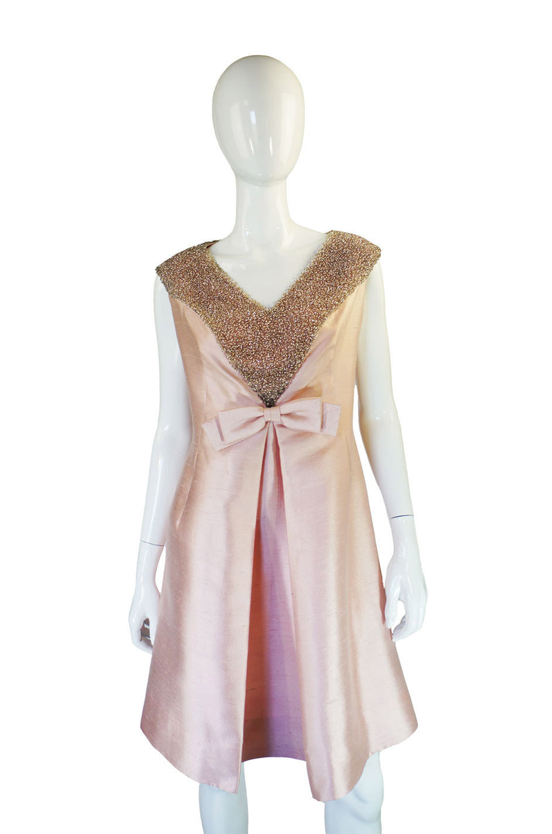 1960s Silver Glass Bead Dress