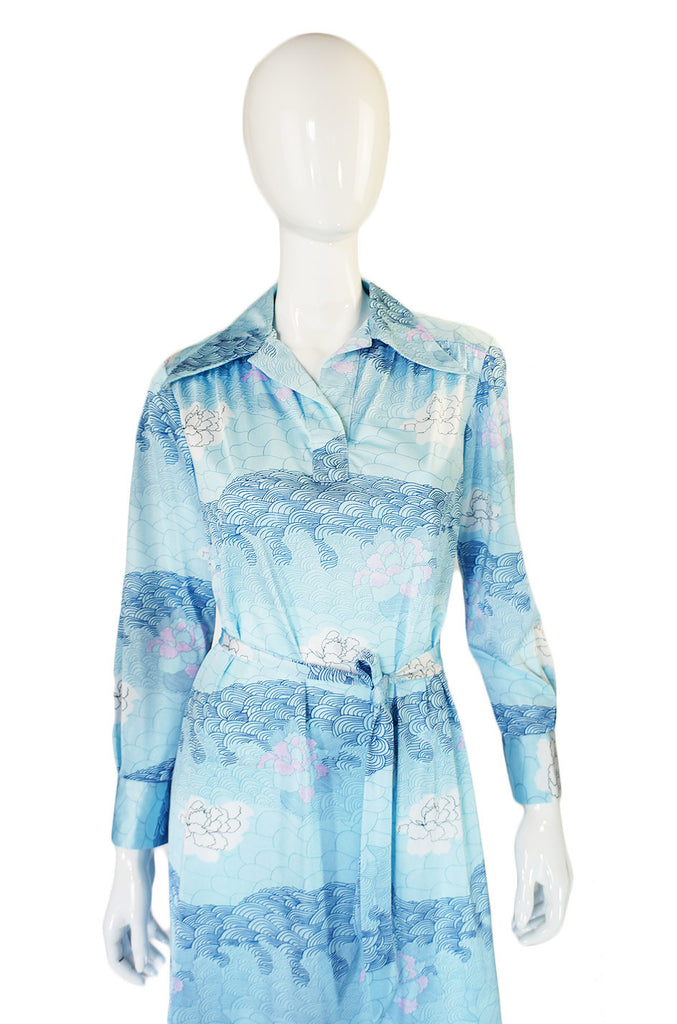 1970s Blue Print Lanvin Shirt Dress