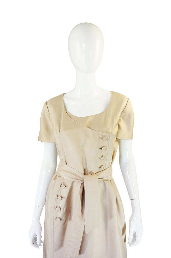 1960s Lrgr Oleg Cassini Taupe Silk Dress