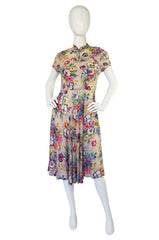 1940s Silky Rayon Floral Swing Dress