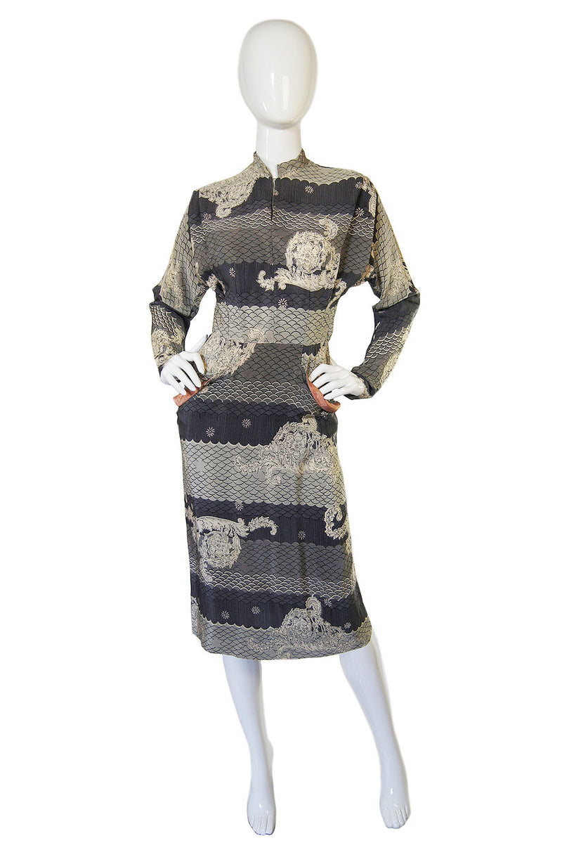 1940s Amazing Printed  Silk Swing Dress