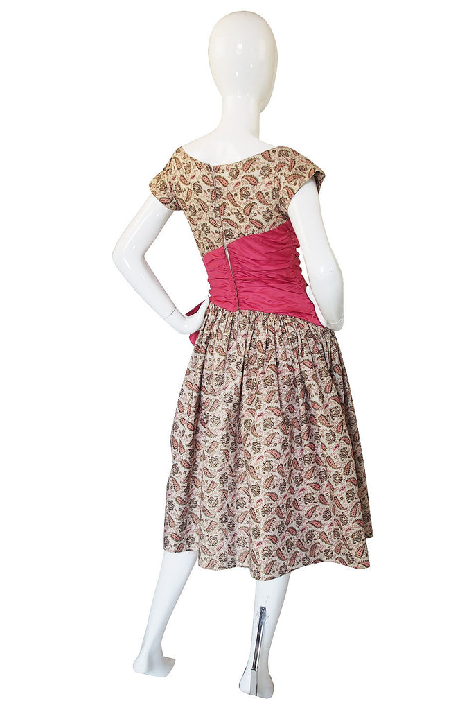 1950s Paisley & Gold Print Party Dress