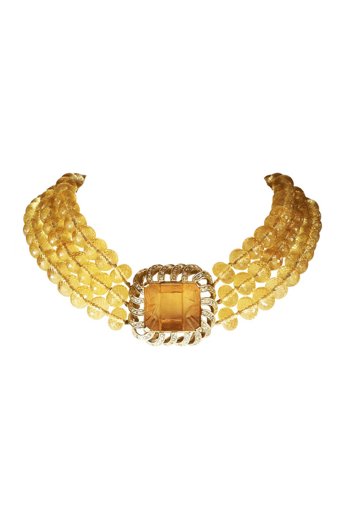 RENATO CIPULLO Gold Diamond Citrine Necklace
