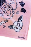 S/S 1993 Pink Cotton Chanel Logo Pocket Square Scarf
