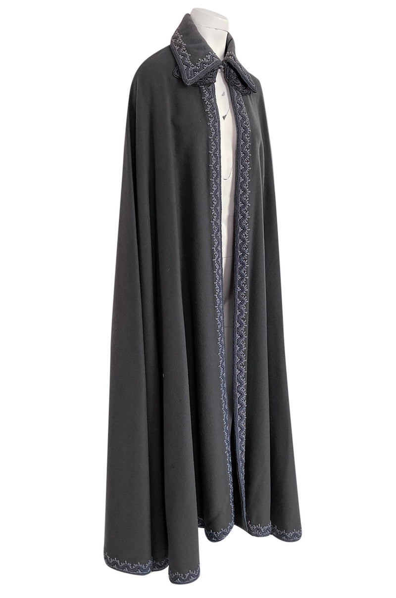 Wonderful 1970s Grey Full Length Wool Cape w Elaborate Braided Edge Detail - 25% OFF TAKEN AT CHECKOUT