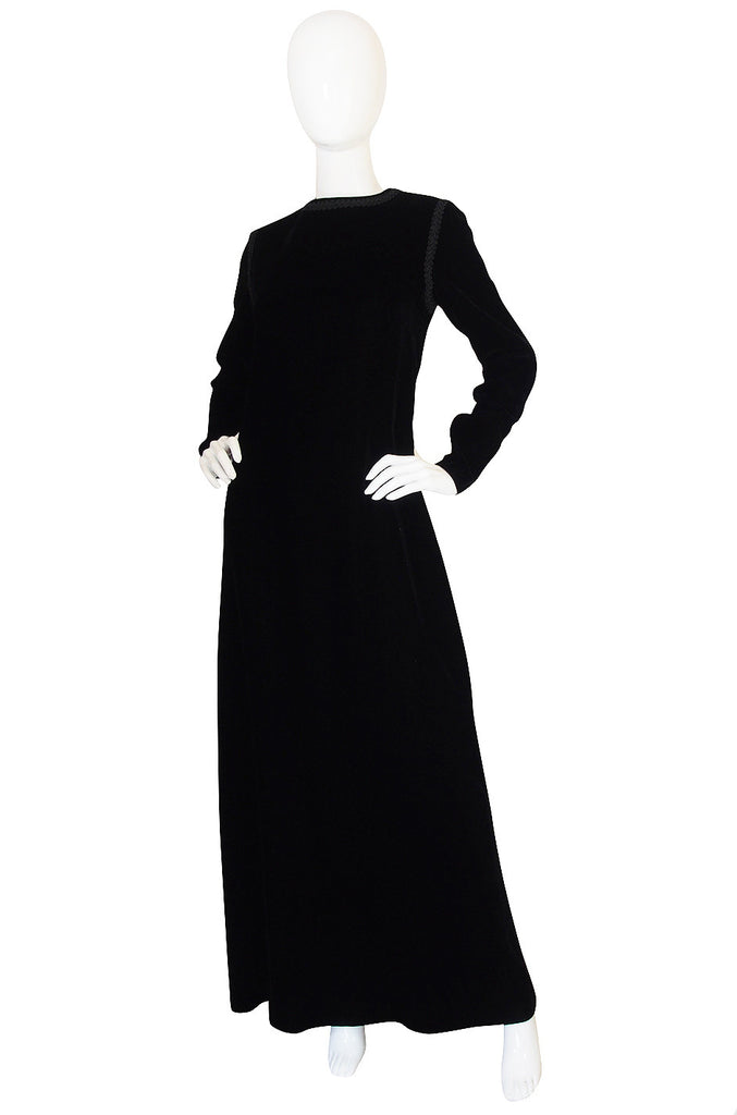 1970s Black Velvet & Braid Yves Saint Laurent Dress