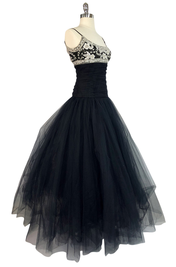 1980s Bellville Sassoon Appliqued Bodice & Princess Skirted Tulle Dress