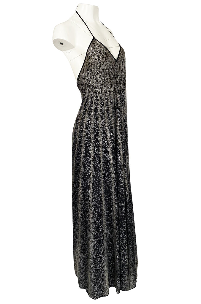 1970s Missoni Black & White Dot Print Liquid Jersey Plunge Bare Back Dress