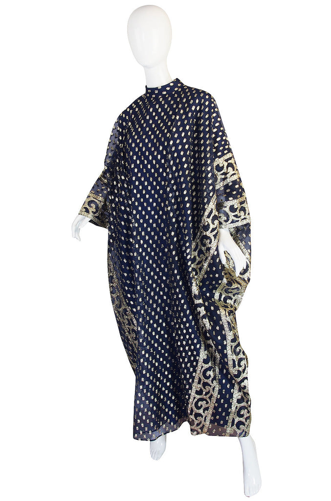 1960s Bergdorf Goodman Metallic Blue and Gold Caftan